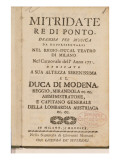 Frontispiece from an Early Copy of 'Mitridate  Re Di Ponte'  an Opera by Wolfgang Amadeus Mozart