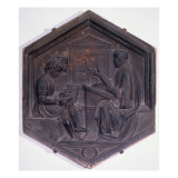 Grammar  Hexagonal Decorative Tile from a Series Depicting the Seven Liberal Arts