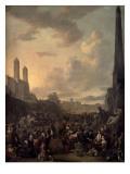 Capriccio View of Rome with a Market by Bernini's Four Rivers Fountain  Santa Trinita Dei Monti