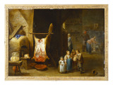 The Interior of a Peasant&#39;s Cottage with a Pig&#39;s Carcass and a Boy Blowing Up a Bladder  1646