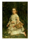 Portrait of Gracia  Full Length  Wearing a White Dress  Picking Wild Flowers