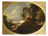 A River Landscape with Rustic Lovers  a Mounted Herdsman Driving Cattle and Sheep over a Bridge
