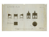 Designs for Writing Desks Shown in Front and Side Elevations  for the Ingram Street Tea Rooms  1909