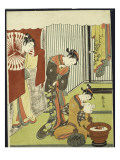 Figures in an Interior  a Courtesan Looking at Her Shinzo Who Is Reading a Love Letter