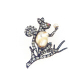 An Antique Baroque Cultured Pearl  Old European-Cut Diamond and Ruby Brooch Designed as a Squirrel