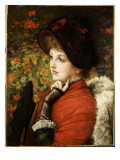 Type of Beauty: Portrait of Mrs Kathleen Newton in a Red Dress and Black Bonnet  1880