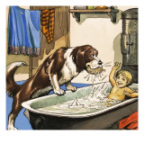 Nana Baths Michael  Illustration from 'Peter Pan' by JM Barrie
