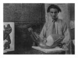 Henri Gaudier-Brzeska with His Sculpture 'Bird Swallowing Fish' in Kettle's Yard