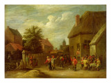 The Courtyard of a Village Inn with a Man Toasting Departing Revellers