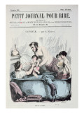 Scorching Heat: the Family Bath  Front Cover of 'Le Petit Journal Pour Rire'  C1860