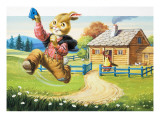 Rabbit Running from Wolf's House  Illustration from 'Brer Rabbit'