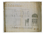 Designs for an Upholstered Chair and a Spindle Chair Shown in Elevation and Plans  1909