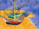 Fishing Boats on the Beach at Saintes-Maries-De-La-Mer Giclée par Vincent Van Gogh