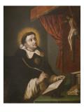 St Thomas Aquinas Writing before the Crucifix