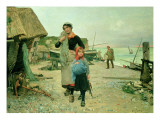 Fisherfolk Returning with their Nets  Etretat  1882