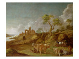Extensive Hilly Landscape with Cattle  Sheep and Goats