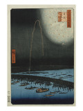 Fireworks at Ryogoku  from the Series 'One Hundred Famous Views of Edo'