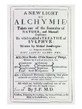 Title Page to the English Edition of &#39;A New Light on Alchemy&#39; by Michal Sedziwoj  1650