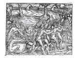 Procession of Natives Drinking and Smoking  Engraved by Theodor De Bry