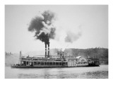 The 'City of Louisville' Steamboat on the Ohio River  C1870