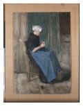 Young Scheveningen Woman Knitting  Facing Right  1881