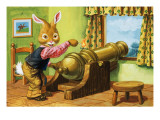 Rabbit with a Cannon  Illustration from 'Brer Rabbit'