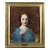 Portrait of Mrs Prescott Decie  Bust Length  in a Blue Dress - a Sketch