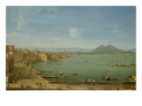View of Naples from the Bay with Mt Vesuvius