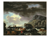A Mediterranean Coastal Scene with Ships Foundering and Castaways