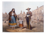 Mexican Family in Plaza Santo Domingo  Mexico City  C1840