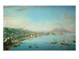 Naples from the Bay  with Mt Vesuvius in the Background