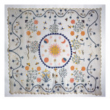 Applique Quilt with Sun  Moon  Stars and the Garden of Eden  from Arkansas  C1890
