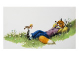 Bird Perching on the Foot of a Fox  Illustration from 'Brer Rabbit'