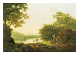 Applepickers  by a Cottage in a Wooded Landscape with Chichester Beyond