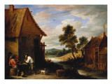 A River Landscape with Peasants Outside a Tavern