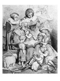 Grandmother Telling a Story to Her Grandchildren  Illustrated Title Page