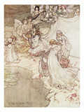 Illustration for a Fairy Tale  Fairy Queen Covering a Child with Blossom