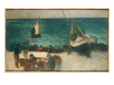 Seascape at Berck  Fishing Boats and Fishermen  1872-73