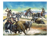 Native American Indians Killing American Bison