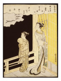A Courtesan and Her Kamuro on a Verandah Watching Flying Geese in the Rain