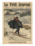 Alpine Postmen Using Ski During their Rounds in the Snow