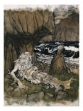 A Crowned &#39;Merman&#39;  a Sea God Sleeping on a Rocky Shore
