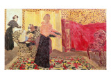 Three Women in an Interior with Rose Wallpaper  1895