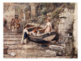 View of Clovelly  with Stranded Boat and Figures  1882