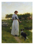 A Shepherdess with Her Dog and Flock in a Moonlit Meadow