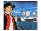 John Paul Jones  with His Ship Flying the Flag of the Rebellious Colonists of North America