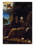St Francis of Assisi Consoled by an Angel Musician