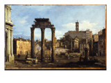 Rome - the Forum with the Temple of Castor and Pollux  C1742-43