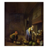 A Kitchen with a Kitchenmaid Preparing Poultry and a Fishmonger Delivering Fish