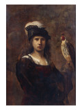 A Falconer  Standing Half Length  in a Feathered Hat